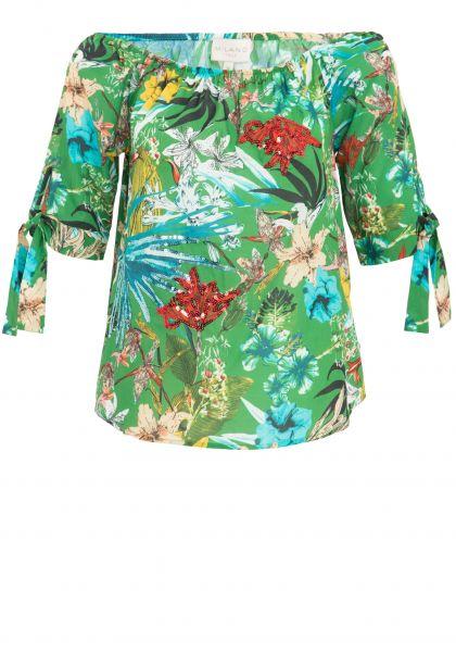 MILANO ITALY Bluse mit floralem Alloverdruck und Pailetten