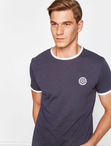 KOTON T-Shirt mit kontrastierenden Bündchen