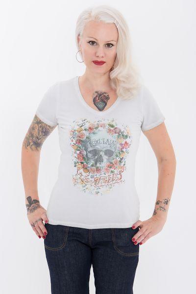 Queen Kerosin T-Shirt mit Front Print in Rosenoptik Rebel Lady