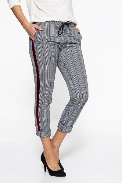 BLUE MONKEY Skinny Fit Jeans »Emilia7218« mit Karomuster und seitlichen Galonstreifen aus Samt Emili