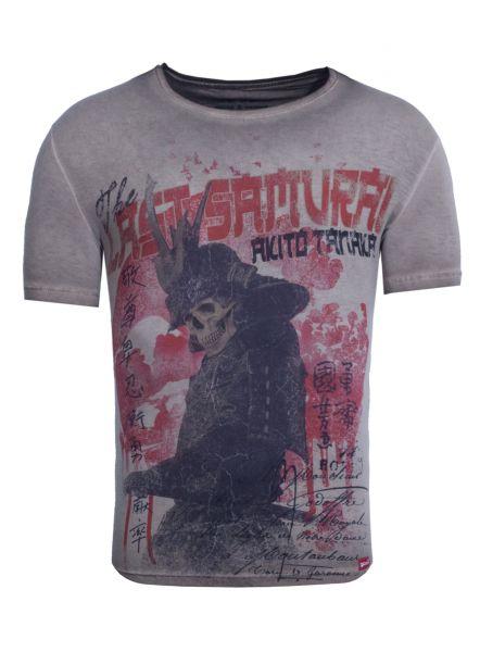 AKITO TANAKA Print Shirt mit Totenkopf Fotodruck Samurai Skull