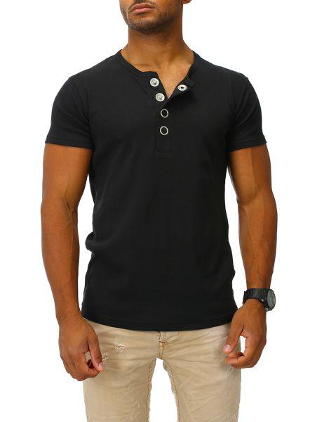 Joe Franks Herren Basic T-Shirt BIG BUTTON kurzarm Big Button