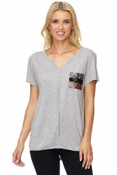 DECAY Shirt mit Zierblende und Pailletten
