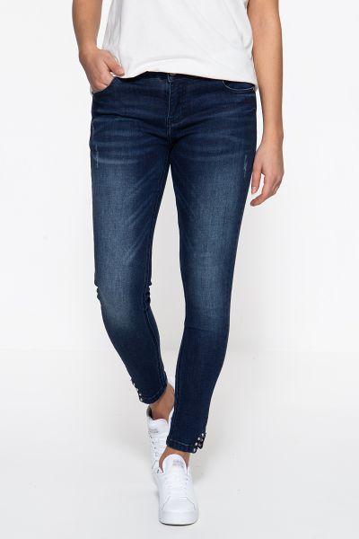 BLUE MONKEY Skinny Fit Jeans »Honey 7185«  mit nietenbesetzten Caprischlitzen Honey 7185