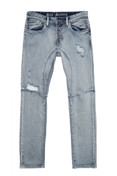 BLUE MONKEY Slim Fit Hose im Destroyed-Look Alex 2049