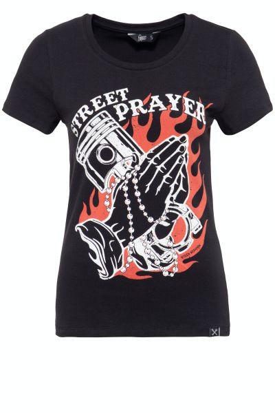 QUEEN KEROSIN Damen T-Shirt mit Frontprint und Rundhals-Ausschnitt Street Prayer