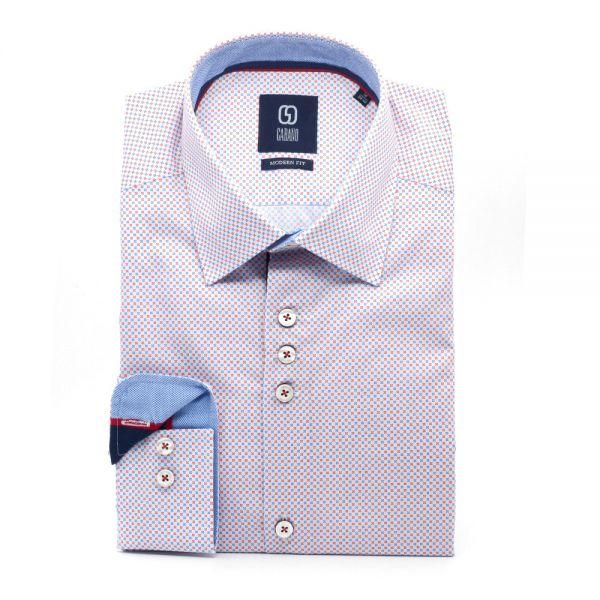 GABANO Langarmhemd mit kontrastreichem Minimalmuster und Kontrastfutter