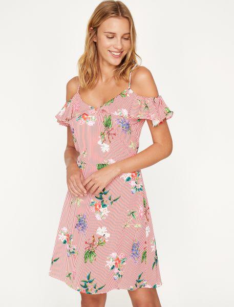 KOTON Sommerkleid mit Streifen-Blumenmuster