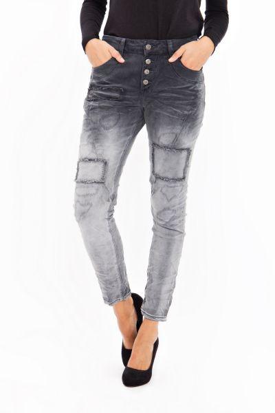 BLUE MONKEY Boyfriend Jeans in Dip Dye Waschung mit Patch Details Sue 1255