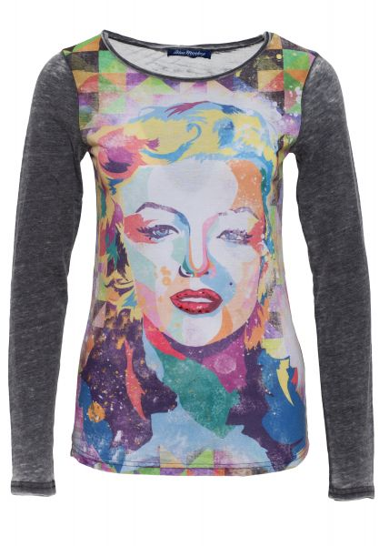 BLUE MONKEY Langarmshirt mit Frontprint Marilyn Style 618-3519