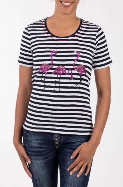 BLUE MONKEY T-Shirt mit Flamingo Applikation