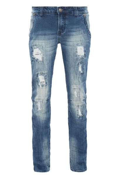 BLUE MONKEY Slim-Fit Jeans mit Destroyed-Effekten KYLE 4380