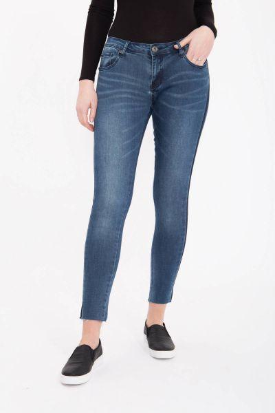 BLUE MONKEY Skinny Jeans mit kontrastigen Seitennähten und geschnittenen Säumen Honey 7101