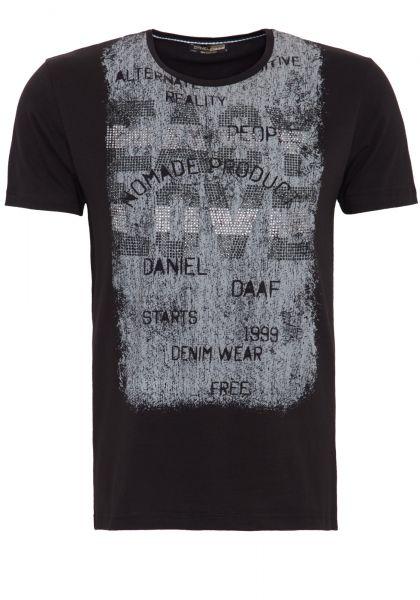 DANIEL DAAF Shirt mit Front Druck und Strass Applikation
