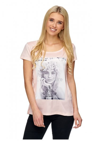 DECAY T-Shirt im Materialmix mit Front Motiv