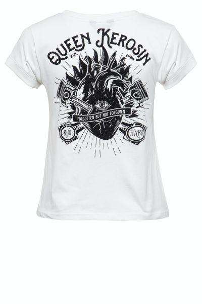 QUEEN KEROSIN Damen Printshirt mit coolem Backprint QK Heart