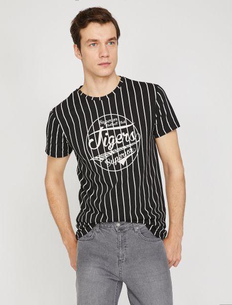 KOTON T-Shirt mit Längsstreifen und Frontprint
