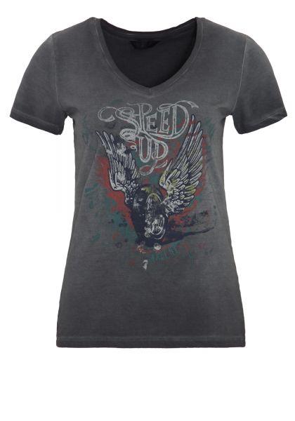 QUEEN KEROSIN T-Shirt mit Front Druck und V-Ausschnitt Speed Up