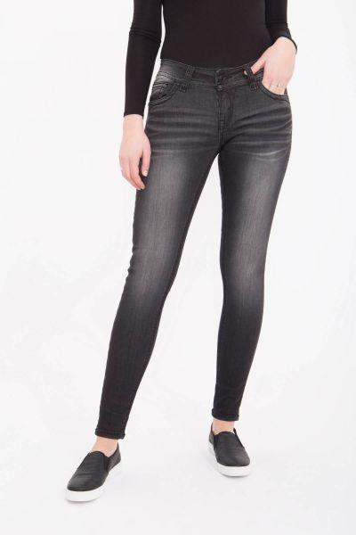 BLUE MONKEY Skinny Jeans mit geschmückten Gesäßtaschen Luna 3859