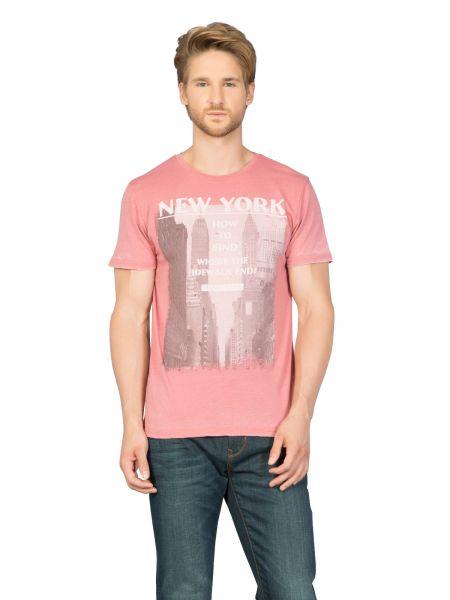 COLINS T-Shirt mit Used-Waschung und Front Print