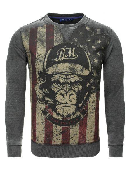 BLUE MONKEY Sweatshirt mit Fronprint Monkey Style 2 19-4005