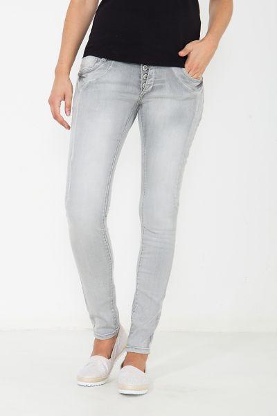 BLUE MONKEY Skinny Jeans mit breitem Bund und Teilungsnähten Anny 3845