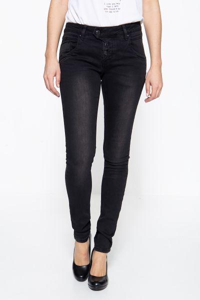 BLUE MONKEY Skinny Fit Jeans mit halbverdeckter Knopfleiste Manie 3841