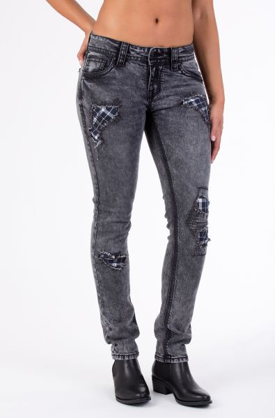 BLUE MONKEY 5-Pocket Skinny Fit Jeans mit Karo-Patch und Strass Luna 3696