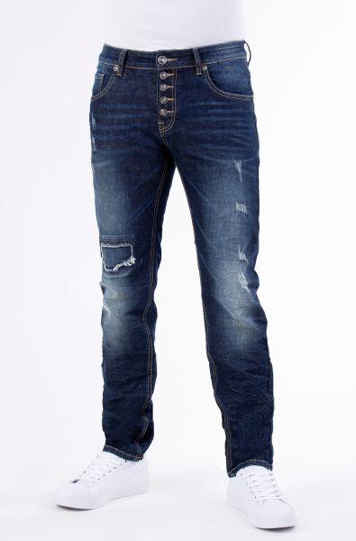 BLUE MONKEY 5-Pocket Jeans mit Knopfleiste und Destroyed Effekten Alex 4350
