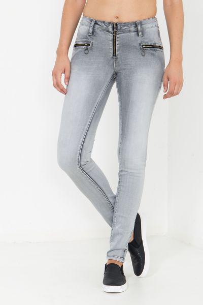BLUE MONKEY Skinny Fit Jeans mit Reißverschluss Details Patricia 3962