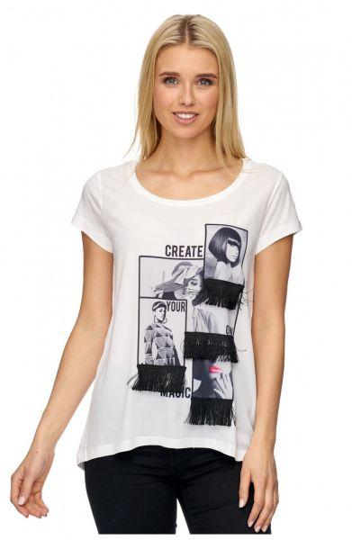 DECAY T-Shirt mit Foto Druck und Fransen