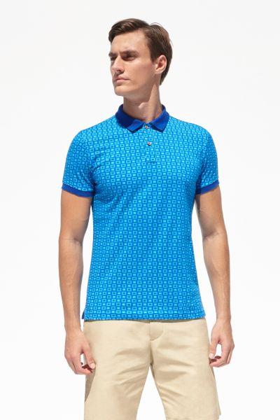 PORT ROYALE Poloshirt mit Kontrastkragen und Allover-Muster