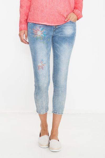 BLUE MONKEY Capri Jeans mit bunten Strass Applikationen Alexis 10003