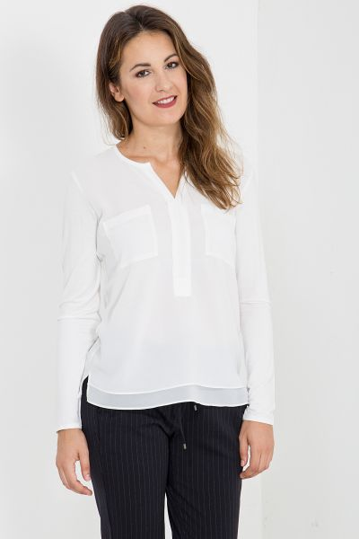 MILANO ITALY Blusenshirt im Materialmix mit Brusttaschen