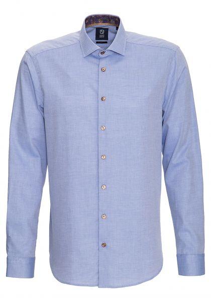 GABANO Langarmhemd mit Minimalmuster und Kontrastfutter