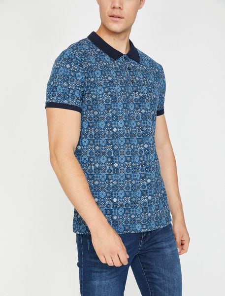 KOTON Poloshirt mit Musterung und kontrastierendem Kragen