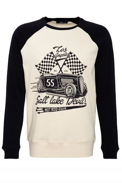 KING KEROSIN Raglansweater 2-farbig mit Front Print Salt Lake Devils
