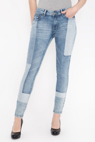 BLUE MONKEY Skinny Fit Jeans in individuellem Patch Look Honey 1715