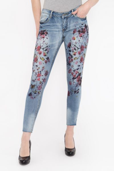BLUE MONKEY Skinny Fit Jeans in individuellem Patch Look Honey 7111