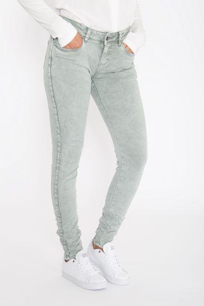 BLUE MONKEY Skinny Fit Jeans mit seitlich aufgestepptem Glitzerbändern Honey