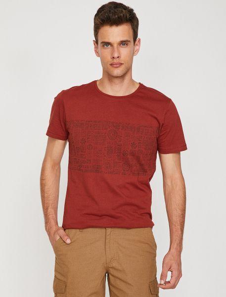KOTON T-Shirt mit Ton in Ton Musterprint