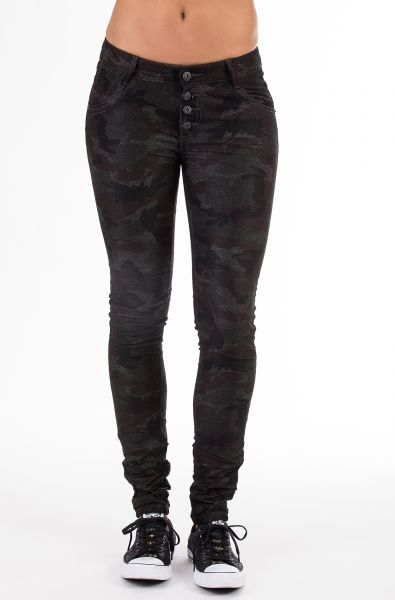 BLUE MONKEY Skinny Jeans im Tarnmuster Look mit Crash Hannah 1337