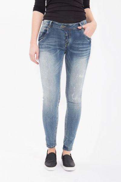 BLUE MONKEY Skinny Fit Jeans mit Farbeffekt auf der Seitennaht Manie 1421