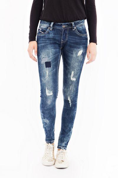 BLUE MONKEY Skinny Jeans mit breiten Kontraststepps Laura 1608