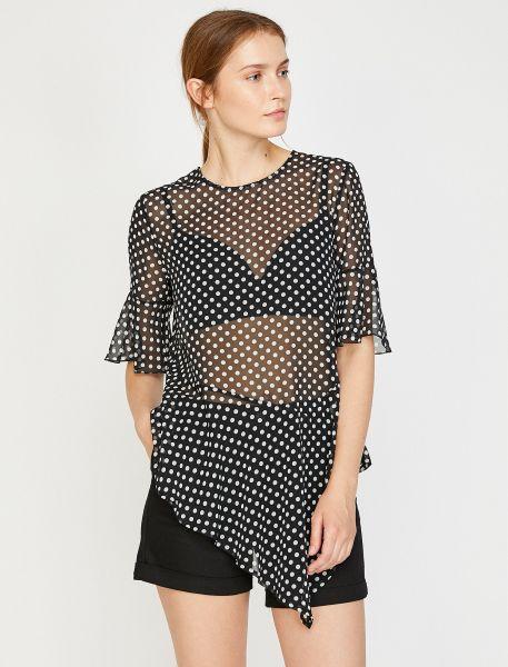 KOTON T-Shirt aus transparentem Material mit Punkten