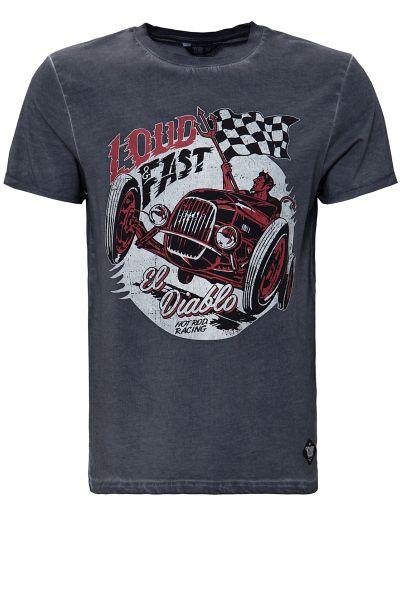 KING KEROSIN Oil Washed Print T-Shirt im Used Look Loud & Fast
