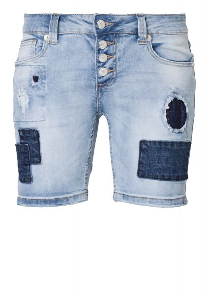 BLUE MONKEY Shorts mit Patches im Used-Look Rosi 1022