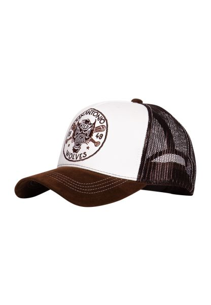 Trucker Cap mit Stickereien und Schirm in Samt-Optik »San Antonio Wolves«