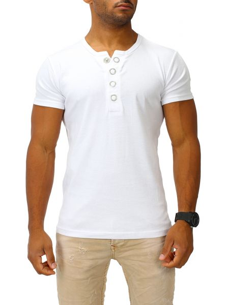Joe Franks Herren Basic T-Shirt BIG BUTTON kurzarm Big Button