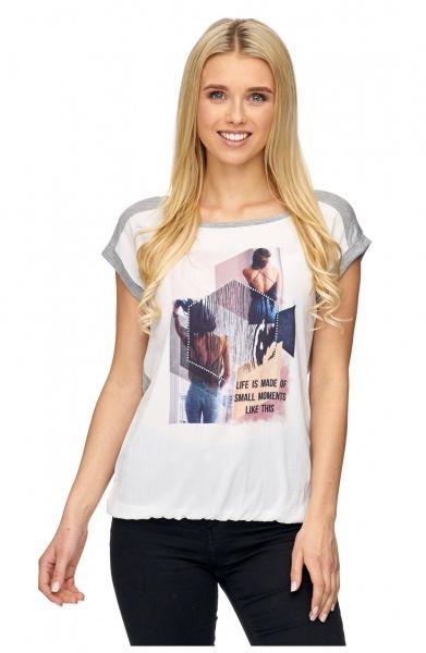 DECAY Blusenshirt mit Melange Jersey Patch